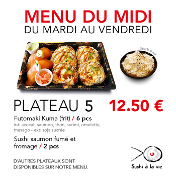 Plateau 5 - 12,50€ / 8 Pce / 1 Pers